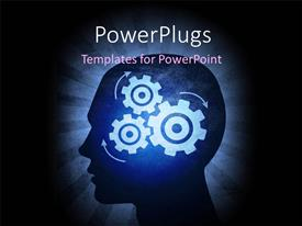PowerPlugs: PowerPoint template with silhouetted head thinking hard with cog wheels inside trying to solve problems, with black color