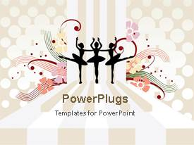 PowerPoint template displaying silhouettes of 3 ballerinas dancing on piano key floor, flowers, polka dots