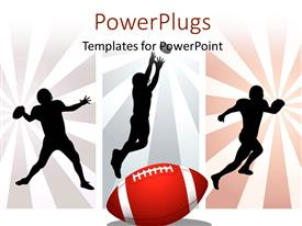 PowerPlugs: PowerPoint template with silhouettes of American rugby player with rays