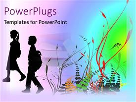 PowerPlugs: PowerPoint template with silhouettes of boy and girl children going to school, book background, rainbow colored plants, education, learning
