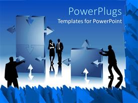 PowerPlugs: PowerPoint template with silhouettes of business men and women assembling puzzle pieces