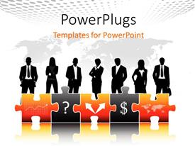 PowerPlugs: PowerPoint template with a silhouettes of business men and women with some puzzles in front of them