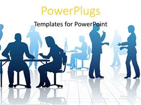 PowerPlugs: PowerPoint template with silhouettes of business people in a busy office with reflections
