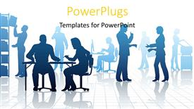 PowerPoint template displaying silhouettes of business people in a busy office with reflections