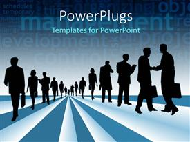 PowerPoint template displaying silhouettes of business people with management and business keywords in background