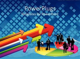 PowerPlugs: PowerPoint template with silhouettes of business people on multicolored pie chart next to group of colorful arrows