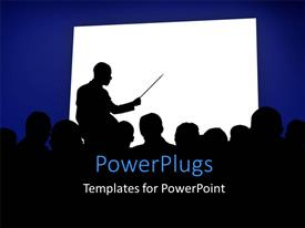 PowerPlugs: PowerPoint template with silhouettes in a business presentation with a white board