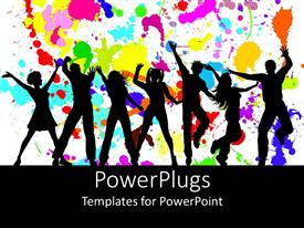 PowerPlugs: PowerPoint template with silhouettes of dancing party goers, white background splattered with bright colors