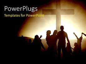 PowerPlugs: PowerPoint template with silhouettes of family members at the cross of Jesus with black color