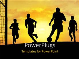 PowerPlugs: PowerPoint template with silhouettes of football players with a ball playing a soccer game