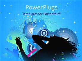 PowerPlugs: PowerPoint template with silhouettes of girls dancing with disco lights on circle patterned background