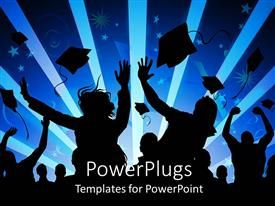 PowerPlugs: PowerPoint template with silhouettes of graduating students throwing graduation caps in the air people celebrating graduation