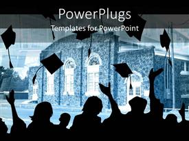 PowerPlugs: PowerPoint template with silhouettes of graduating students tossing their graduation caps in the air, university college building in the background
