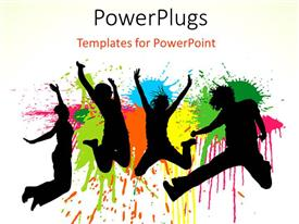 PowerPoint template displaying silhouettes of jumping people on splatter paint background
