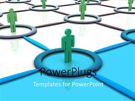 PowerPlugs: PowerPoint template with lots of green colored 3D characters standing on joined tiles