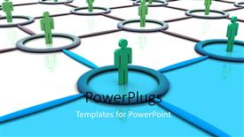 PowerPoint template displaying lots of green colored 3D characters standing on joined tiles