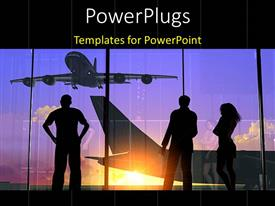 PowerPlugs: PowerPoint template with silhouette of people looking through glass at airport