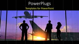 PowerPoint template displaying silhouette of people looking through glass at airport