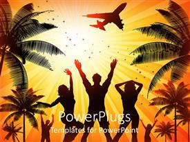 PowerPlugs: PowerPoint template with silhouettes of people dancing on bright summer background