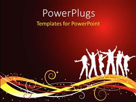 PowerPlugs: PowerPoint template with silhouettes of people dancing , on a decorative design