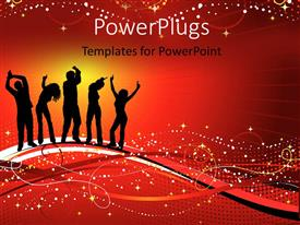 PowerPlugs: PowerPoint template with silhouettes of people dancing and enjoying with red color sparkles