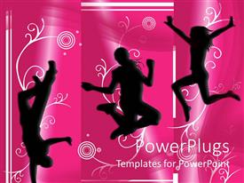 PowerPoint template displaying silhouettes of people dancing and jumping on pink background, music, fun, celebration, party