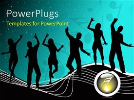 PowerPlugs: PowerPoint template with silhouettes of people dancing with musical symbols