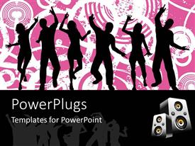 PowerPlugs: PowerPoint template with silhouettes of people dancing on pink and white grunge background, speakers on black border