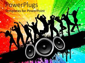 PowerPlugs: PowerPoint template with silhouettes of people dancing on a starry multi colored background with loudspeakers