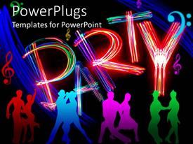 PowerPlugs: PowerPoint template with silhouettes of people dancing together and PARTY in multicolored lights