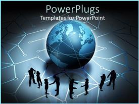 PowerPlugs: PowerPoint template with silhouettes of people interacting in pairs in front of globe