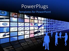 PowerPlugs: PowerPoint template with silhouettes of people standing beside lots of tiles showing different business themes