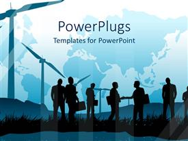 PowerPlugs: PowerPoint template with silhouettes of people with suitcases on grass and windmills, world map in the background