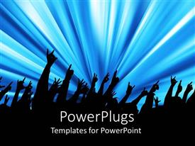 PowerPlugs: PowerPoint template with silhouettes with raised hands at a concert, people attending a concert