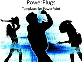 PowerPlugs: PowerPoint template with silhouettes of rock singer, guitarist, and bass player on white blue background
