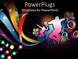 PowerPlugs: PowerPoint template with silhouettes showing active people dancing and jumping on fun music design with music notes and round speakers on disco black background