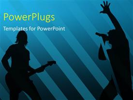 PowerPoint template displaying silhouettes singing and playing guitar with blue color
