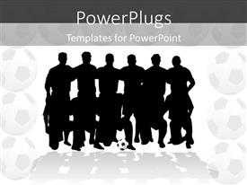 PowerPlugs: PowerPoint template with silhouettes of soccer team in two rows