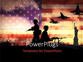 PowerPoint template displaying silhouettes of any Soldiers in new York with american flag in background