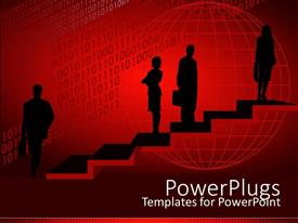 PowerPoint template displaying silhouettes on stairs with grid globe on wine background