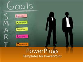 PowerPlugs: PowerPoint template with silhouettes of two business people in front of blackboard with SMART Goals sticky notes