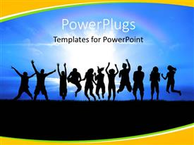 PowerPlugs: PowerPoint template with silhouettes of a youth group jump in field of grass bright sun behind
