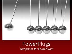 PowerPlugs: PowerPoint template with silver 3D pendulum with swinging ball and five standing balls on gradient gray to white and red background