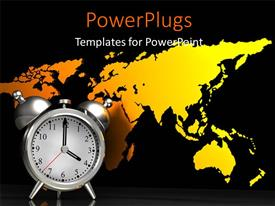 PowerPlugs: PowerPoint template with silver alarm clock over yellow world map in background