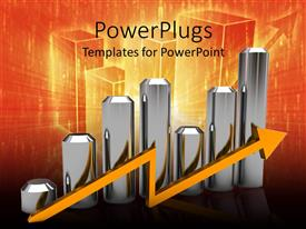 PowerPlugs: PowerPoint template with silver bar chart with orange arrow, orange and black background