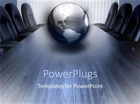 PowerPlugs: PowerPoint template with silver and black globe on conference room table surrounded by empty chairs