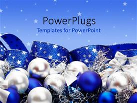 PowerPlugs: PowerPoint template with silver and blue Christmas ornaments and ribbon