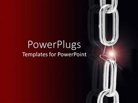 PowerPoint template displaying silver chain with light sparkle from weak link with paper clip