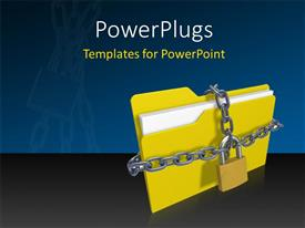 PowerPlugs: PowerPoint template with silver chain and padlock protecting yellow folder icon from unauthorized access