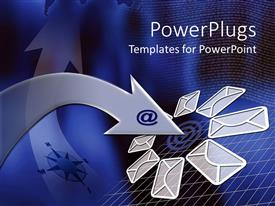 PowerPlugs: PowerPoint template with silver colored arrow with an @ symbol with lots of  emails